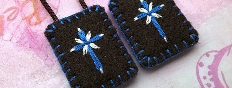 "hand embroidered brown Scapular (0.8"" x 1"" Panels)"