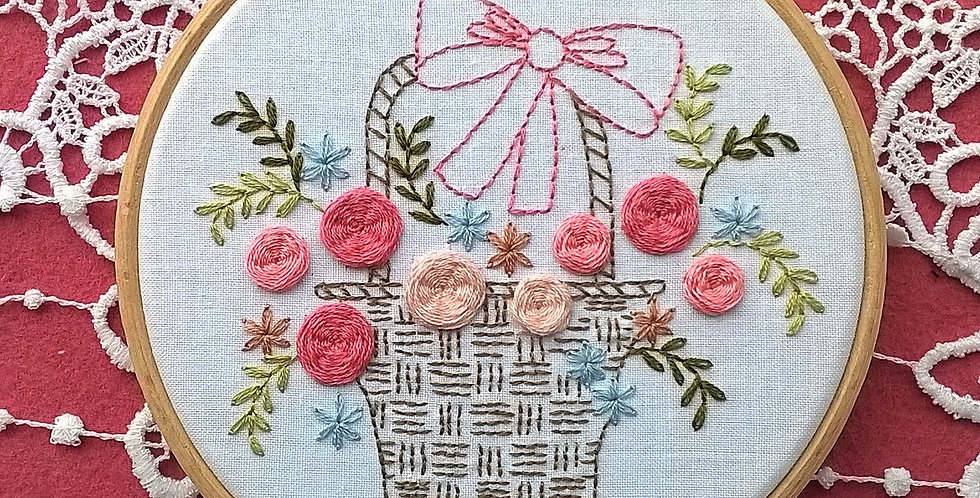 Kit de broderie traditionnelle - panier fleuri