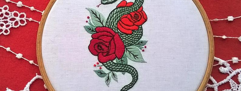 """hand embroidery kit  - """"Serpent et roses"""""""