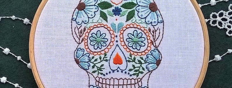 hand embroidery kit  - skull 3 orange