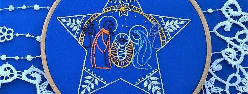 hand embroidery kit  - star nativity scene