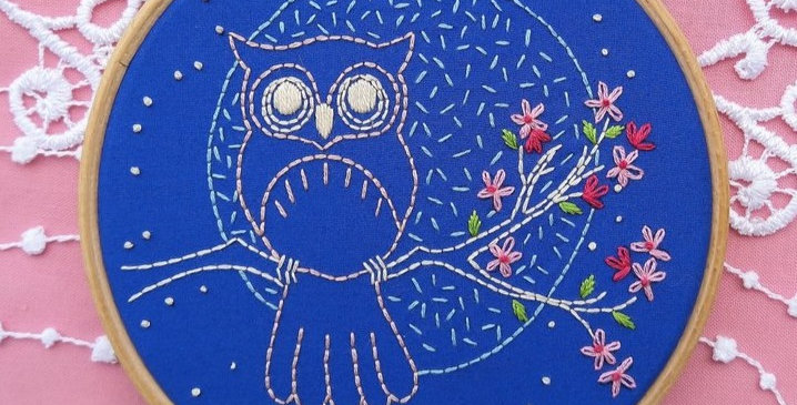 """hand embroidery kit - """"owl and moon"""""""