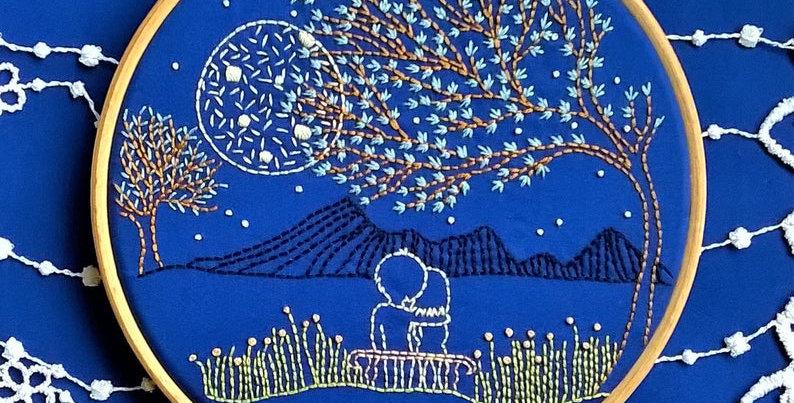 """Kit de broderie traditionnelle """"Loving Moonlight""""sur toile bleue"""