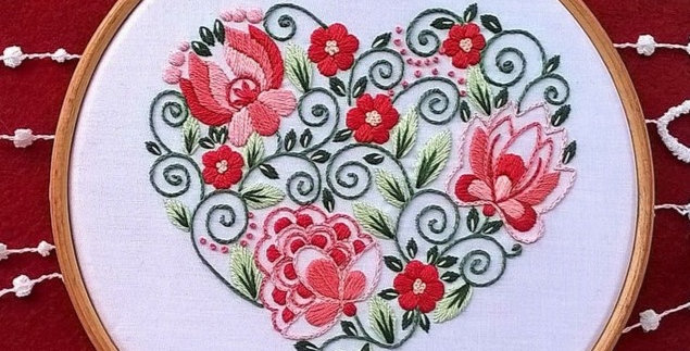 hand embroidery kit  - red heart