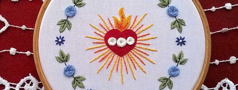 hand embroidery kit  - Immaculate Heart and floral wreath