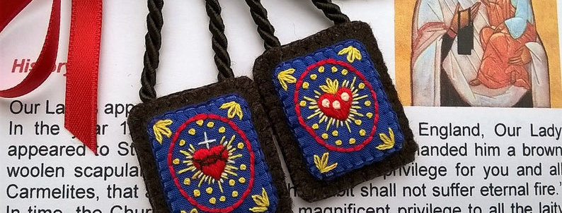 "hand embroidered Brown Scapular (1.1"" x 1.25"" Panels)"