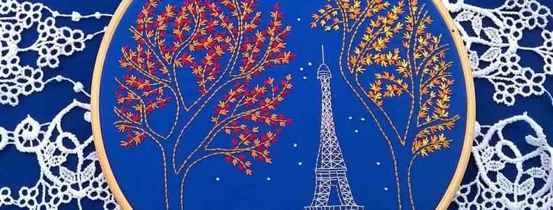 kit de broderie traditionnelle - tour Eiffel de nuit -