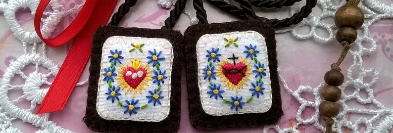 """hand embroidered Brown Scapular (1.4"""" x 1.2"""" Panels)"""