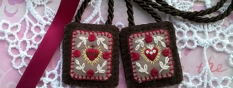 """hand embroidered Brown Scapular (1.1"""" x 1.25"""" Panels)"""