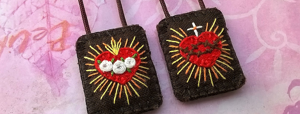 """hand embroidered Brown Scapular (0.9"""" x 1.1"""" Panels)"""