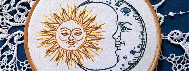 hand embroidery KIT -  Sun and Moon hand embroidery design