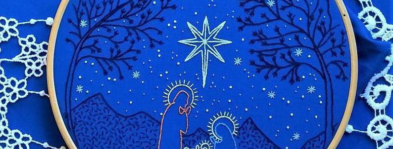 hand embroidery - christmas nativity scene (large model)