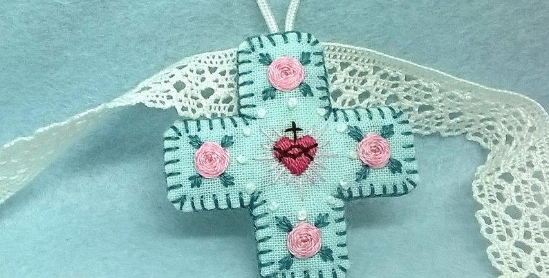 Médaille de berceau croix - cadeau de baptême - Médaillon Sacré Co