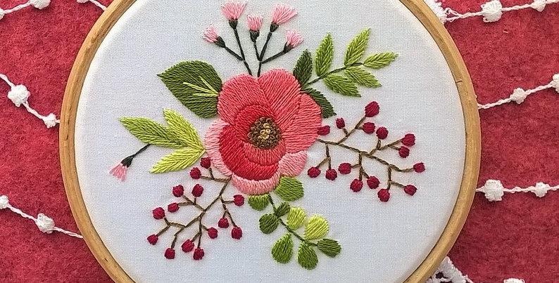 """Kit de broderie traditionnelle  - """"bouquet églantine"""" blanc"""