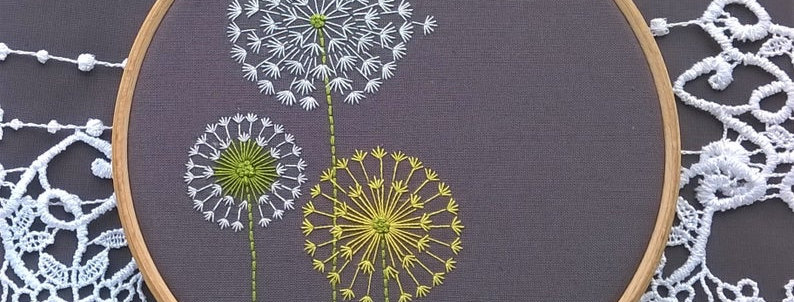 kit de broderie traditionnelle -Dandelion 2 gris