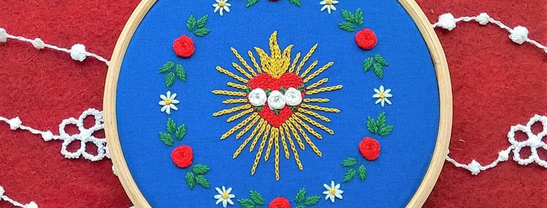 hand embroidery kit  - small Immaculate Heart and floral wreath