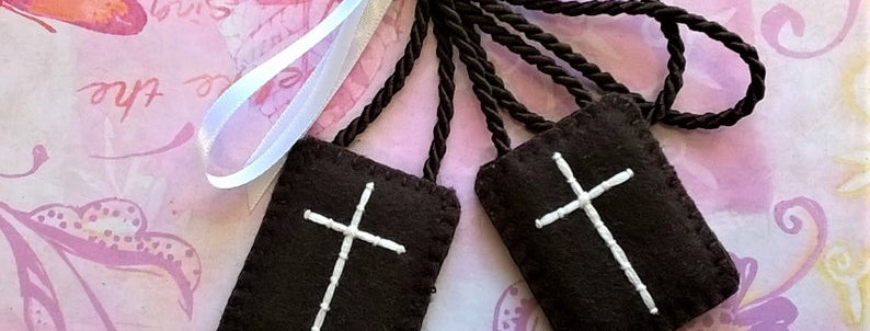 """hand embroidered brown Scapular (1.2"""" x 1,7"""" Panels)"""