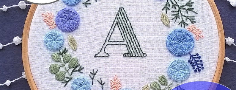 hand embroidery kit with letter and blue floral wreath