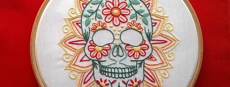 hand embroidery kit - skull 4