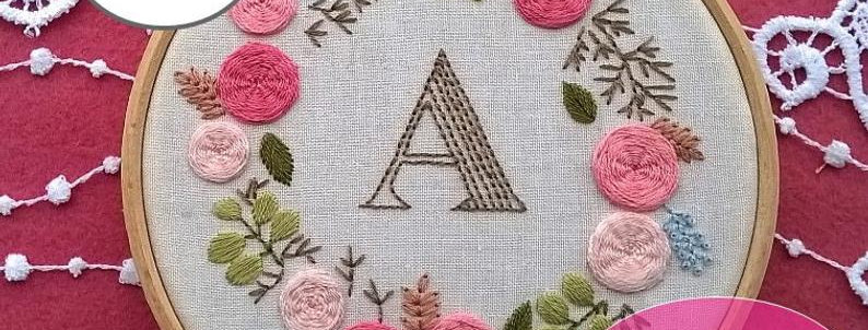 hand embroidery kit with letter and rose floral wreath
