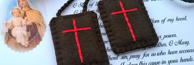 "hand embroidered brown Scapular (1.2"" x 1,7"" Panels)"