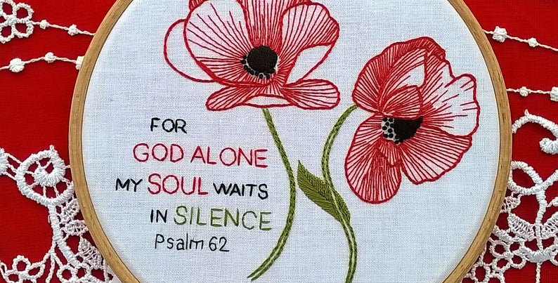 hand embroidery kit  -  poppies and bible quote