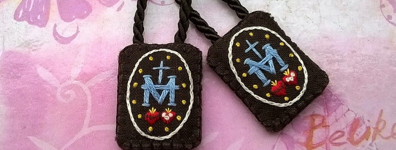 """hand embroidered Brown Scapular ( 0.9"""" x 1.2"""" Panels)"""