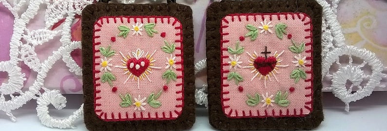 """hand embroidered Brown Scapular (1.8"""" x 1.6"""" Panels)"""