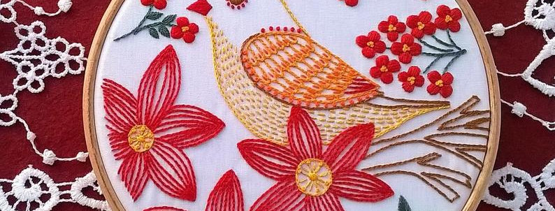 """hand embroidery kit  - """"bird and red flowers"""""""