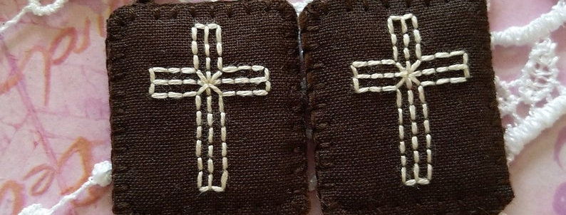"""hand embroidered Brown Scapular (1.4"""" x 1.1"""" Panels)"""