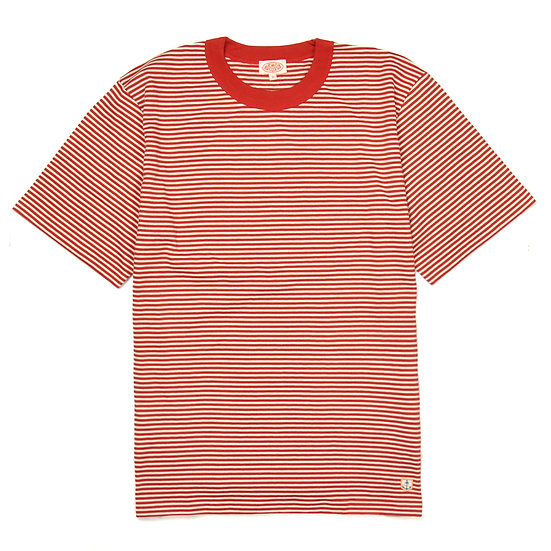 ARMOR-LUX Striped Cotton Linen T-shirt Héritage White/Red