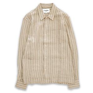 CORRIDOR Natural Linen Stripe Overshirt