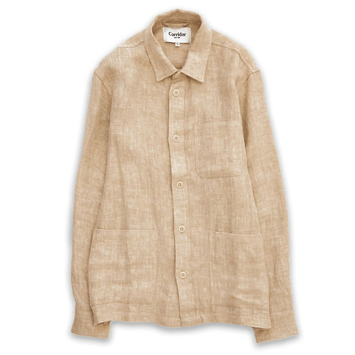 CORRIDOR Natural Linen Herringbone Overshirt