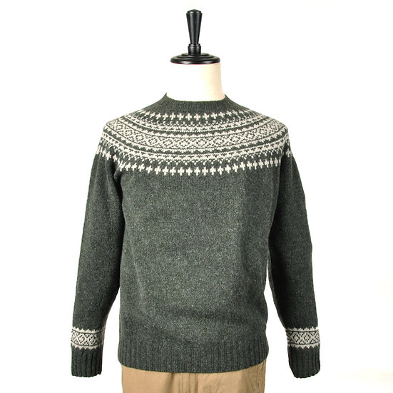 HARLEY OF SCOTLAND Fair Isle Yoke Sweater Green