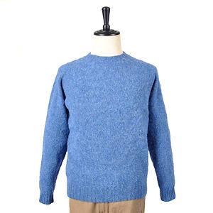 HARLEY OF SCOTLAND Crew-Neck Supersoft Shetland Sweater Brushed Blue