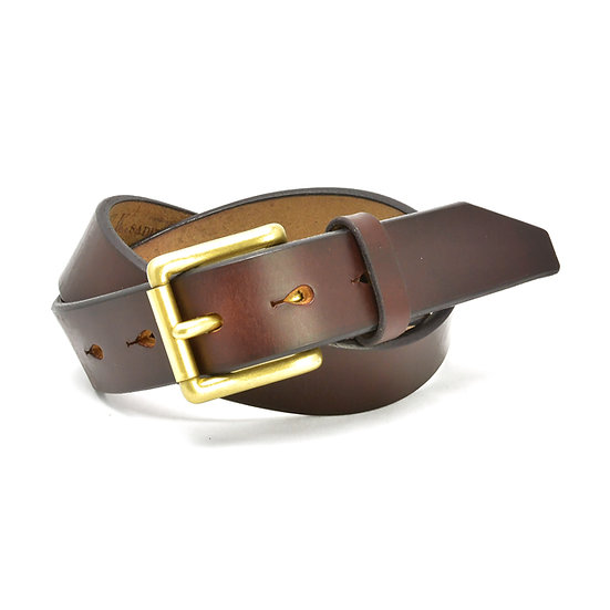 ART BROWN UK Saddle Leather Belt Dark Brown