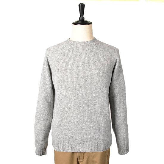HARLEY OF SCOTLAND Crew-Neck Supersoft Shetland Sweater Grey