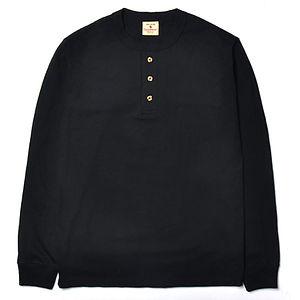GOODWEAR Classic Fit Long Sleeve Henley Neck Tee Black