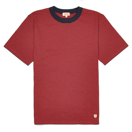 ARMOR-LUX Striped Cotton Linen T-shirt Héritage Navy/Red