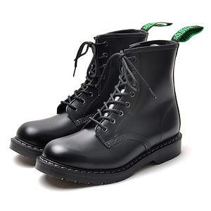 SOLOVAIR Hi-Shine 8 Eye Derby Boot Black