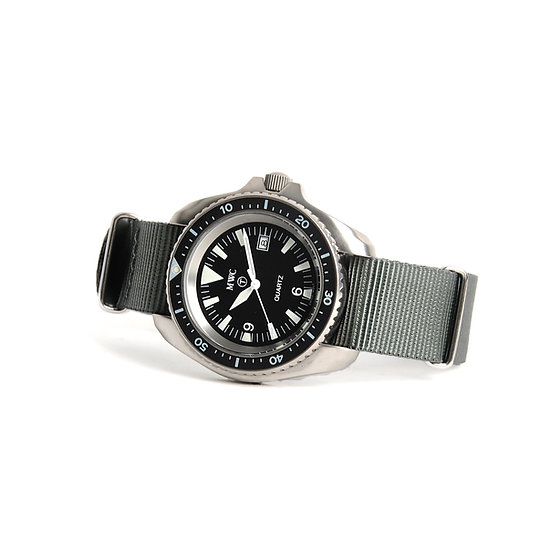 MWC 1999-2001 Pattern Stainless Steel Quartz Military Divers Watch on Grey NATO