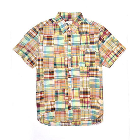 BURGUS PLUS Yamapoke S/S Patch Work Regular Shirt Green