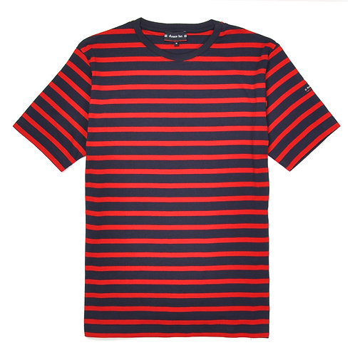 ARMOR-LUX Breton Striped Cotton Shirt Navy/Red
