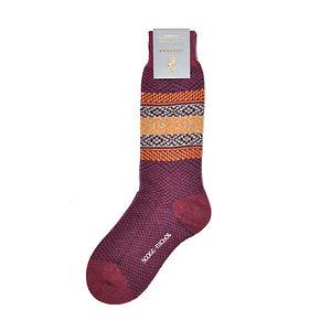 Scott-Nichol by Pantherella Blickling Fairisle Border Socks
