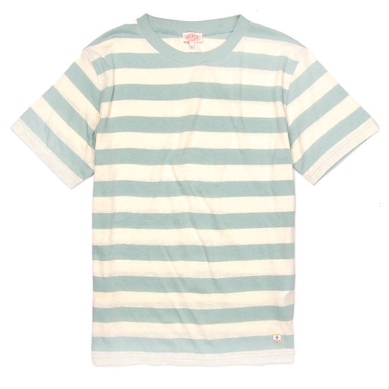 ARMOR-LUX Striped Cotton Linen T-shirt Héritage Light Beige/Green