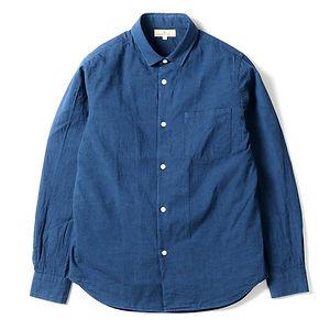 JAPAN BLUE JEANS 5oz Cote d'Ivoire Cotton Selvedge Bono Chambray Shirt Dark Blue