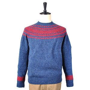 HARLEY OF SCOTLAND Fair Isle Yoke Sweater Blue