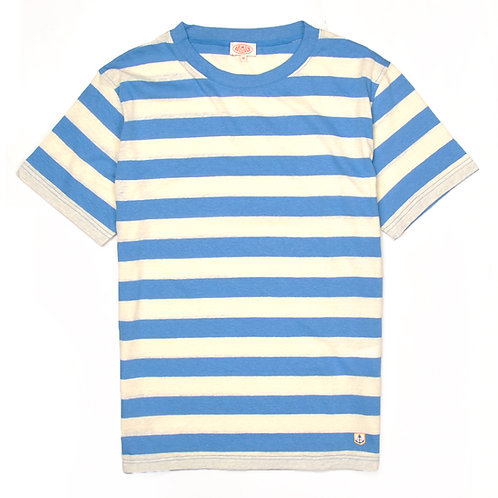 ARMOR-LUX Striped Cotton Linen T-shirt Héritage Beige/Blue