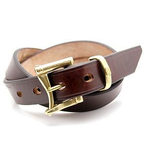 ART BROWN UK Saddle Leather Belt Dark Brown