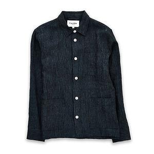CORRIDOR Navy Linen Stripe Overshirt